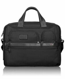 Tumi Alpha 2 Expandable Organizer Laptop Brief Black Ballistic Nylon NWT $455