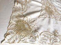 VINTAGE HAND EMBROIDERED GOLDEN TAUPE OFF WHITE LINEN TABLECLOTH 47X47 Inches