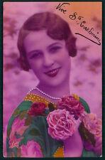 Art Deco 1920s original vintage photo postcard romance lady flower flapper pearl