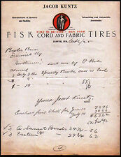 1925 Jasper In - Fisk Cord and Fabric Tires Jacob Kuntz Letter Head Rare history