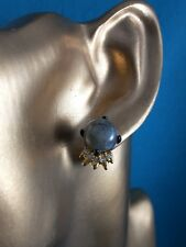 ALEXIS BITTAR LABRADORITE CABOCHON EARRINGS WITH SWAROVSKI CRYSTAL SPIKES, NWOT
