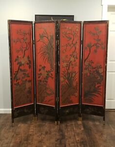 """Antique Chinese lacquered floor screen room divider. Double sided. 6"""" Beautiful."""