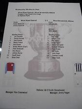 1965-66 League Cup Final (1st Leg) West ham Utd v West Bromwich Alb matchsheet