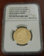 Panama 1975FM Gold 100 Balboas NGC PF69UC 500th Anniversary - Birth of Balboa