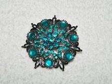 Aqua Blue Green & Gunmetal Flower Starburst Brooch Pin