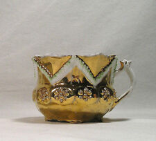 Antique Fine China Porcelain Gold Gilt Mustache Tea Cup, Embossed Fancy Handle
