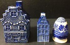 Lot of 3 Blue On White Art Pottery Copeland Shaker Delft Shaker & Ashtray Houses