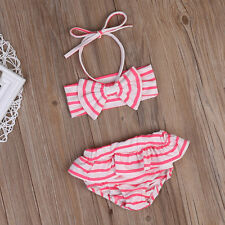 UK Stock Striped Kids Baby Girls Bikini Set Swimwear Swimsuit Beachwear Clothes