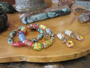 2 African hand made glass beads bracelets & pair of earrings