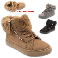 WOMENS WINTER ANKLE BOOTS LADIES TRAINERS FLAT FUR LINED COLLAR HI TOP SHOE SIZE