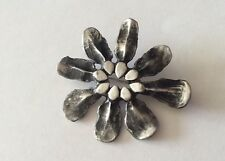 Neat!!! EIVIND HILLESTAD Vintage Signed Pewter Modernist Flower Brooch Norway