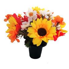 Artificial Autumn Sunflower Grave Crem Memorial Pot Vase