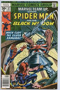 MARVEL TEAM-UP #57 - 7.0, OW-W - Spider-Man/Black Widow vs Silver Samurai