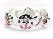 Round Silver Tone Pink Ribbon Theme Stretch Bracelet Pink Ribbon Awareness