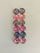 6 Pairs Of 12mm Glass Cabochons #844