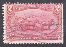 #286 TRANS MISSISSIPPI USED 2¢ NO GUM HINGE REMNANT FLAG CANCEL 1898 - Free S/H