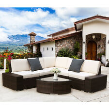 New Listing6Pcs Outdoor Patio Brown Rattan Wicker Sofa Sectional Furniture Beige Cushion