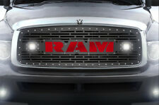 Custom Grille Kit RAM + LED Light + Red Acrylic for 2002-05 Dodge 1500/2500/3500