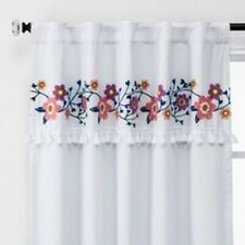 """Pillowfort 42"""" x 63"""" Floral Embroidery Blackout Window ONE Curtain Panel White"""