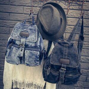 Women Fashion Washed Retro Student School Bag Denim Backpack