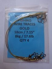 """New Wave Fishing Wire Traces Gold 18cm/7.15"""" 8kg/17.6lb pack of 4 with swivels"""