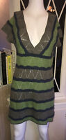 WHITE STUFF Knitted Dress Tunic Size 14 Green Blue Short Sleeve Soft Cosy