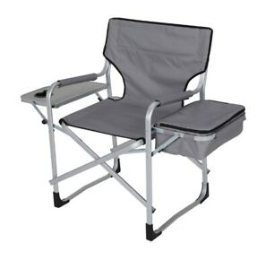 Portable Directors Chair With Side Table Camping Fishing BBQ Cooler Bag Holder