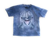 The Mountain Kid's Dolphin Face T-Shirt Tee Blue Youth Size M Made in USA.