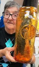"BLENKO #7628 TALL amber / crackle glass 12"" jar ROLLED RIM~ EAGLE bird medallion"