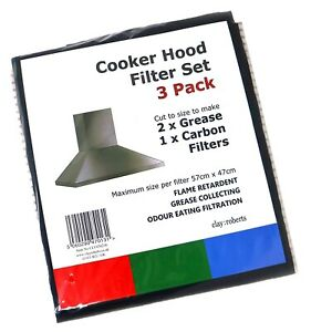 3 x Grease and Carbon Cooker Hood Filters, Universal Cut to Size Charcoal Filter