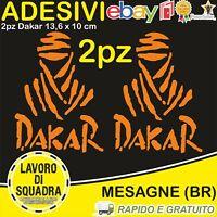 2 Adesivi Dakar Paris Africa Honda KTM Vinile Decalco Moto Stickers ARANCIONE