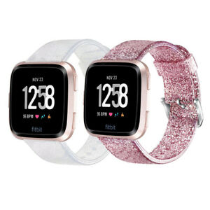Bling Silicone Sport Glitter Wrist Band Strap Bracelet For Fitbit Versa /Versa 2