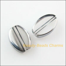 30Pcs Transparent Half-Silver Oval Glass Spacer Beads Charms 8x11mm