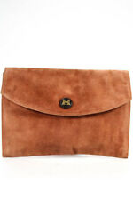 Hermes Brown Suede Etrosque Grizzly Rio Clutch Handbag