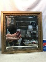 Vtg 1920-30's? Wood Chalk Ornate Framed Beveled Square Mirror Wood Backing