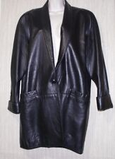 ROMANO by Red Kid USA Vintage Black High Quality Leather Women Coat Size:M