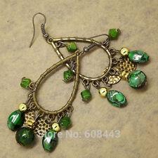 Bohemian GREEN Beads Chandelier Antique Bronze Tone Dangle Drop Earrings Jewelry