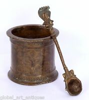 Rare Brass Vintage Nice Hand Crafted Indian Holy Water Pot WITH SPOON.G53-147 US