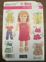 """Simplicity 18"""" Doll Clothes Sewing Pattern American Girl Overalls Skirt Top 4654"""
