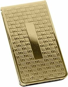 Gold Cross Pattern Stainless Steel Boxed Money Clip