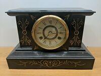 Works!! Vintage Antique ANSONIA Cast Iron Black Victorian Mantel Shelf Clock
