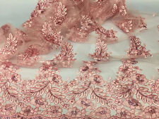 Zoe Pink Corded Flower Embroider With Sequins On Mesh Lace Fabric- 1 yard