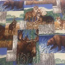 Wildlife Deer Bear Moose Wolves Cotton Fabric Cranston Quilt Sew OOP 1 YD