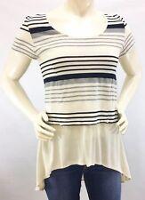 Anthropologie Deletta Gradient Tunic Medium Ivory Stripe Cap Sleeve Hi-Low