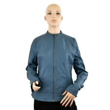Women Steel Blue Genuine Leather Jacket Round neck Zip Up Style Quilted Shoulder
