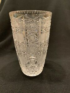 """Bohemian Czech Vintage Crystal 8"""" Tall Vase Hand Cut Queen's Lace ?"""