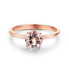 Solid 10K Rose Gold Pink Morganite Round 6mm Beautyful Flawless Solitaire Ring