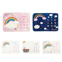KQ_ Rainbow Print Flannel Baby Monthly Milestone Blanket Sleeping Wrap Props Cha