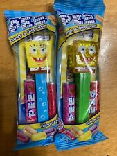2020 Spongebob Squarepants Pez Dispensers, Blue Stem with Bubbles and Yellow Cry