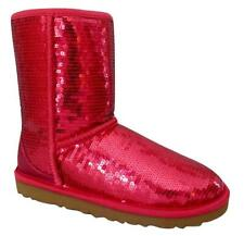 New NIB Ugg Classic Short Sparkles RED Sequined Shearling Boots Women Women's 5